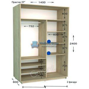 Двухдверный шкаф купе Практик 39 (140×45/60×220/240)